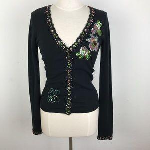 Charolette Anthropologie Sequin Black Cardigan